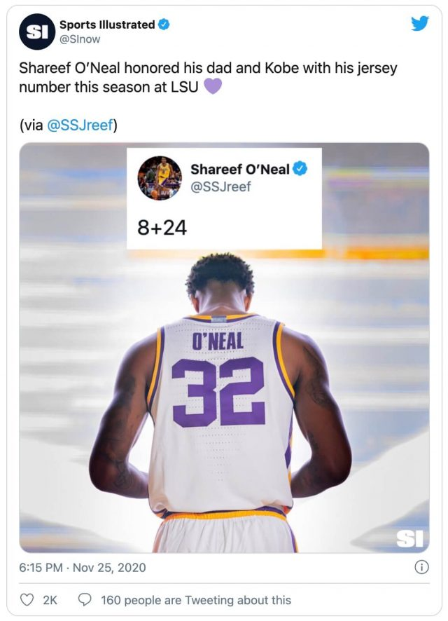 Shareef Honors Dad, Kobe with LSU Jersey